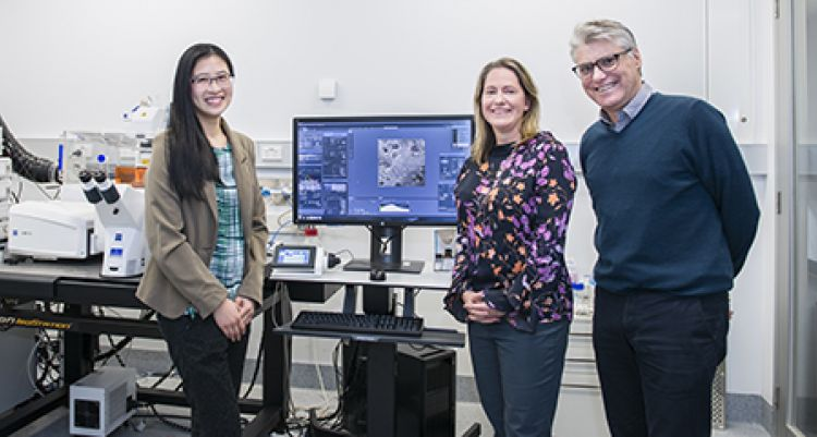 Three researchers in the Imaging facility