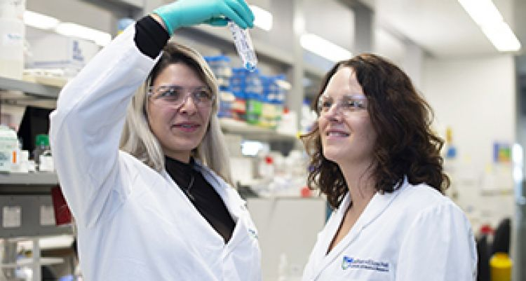 Two female researchers in a laboratory